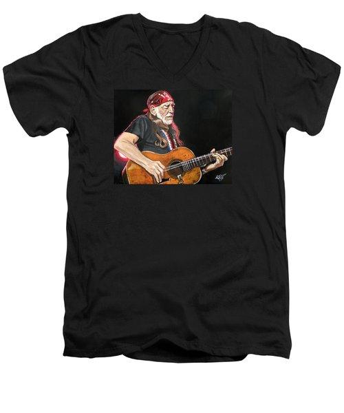 Willie Nelson Men's V-Neck T-Shirt by Tom Carlton