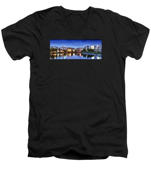 Wilmington Delaware - Skyline At Dusk Men's V-Neck T-Shirt by Brendan Reals