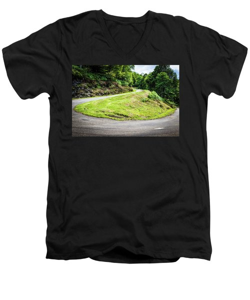 Men's V-Neck T-Shirt featuring the photograph Winding Road With Sharp Bend Going Up The Mountain by Semmick Photo