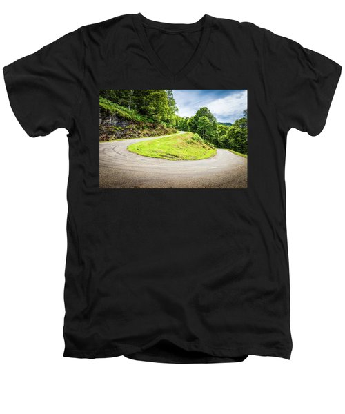 Winding Road With Sharp Curve Going Up The Mountain Men's V-Neck T-Shirt by Semmick Photo