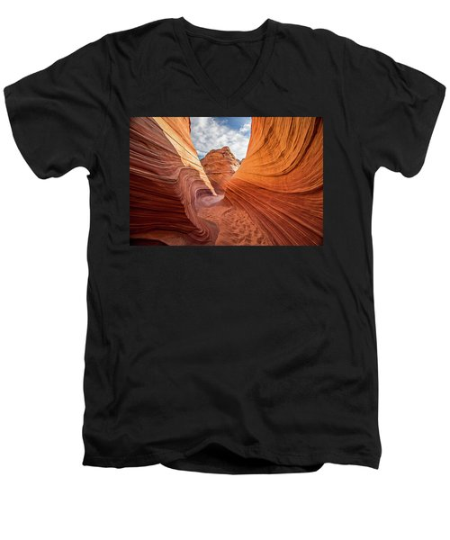 Men's V-Neck T-Shirt featuring the photograph Winding Stripes Of Sandstone by Wesley Aston