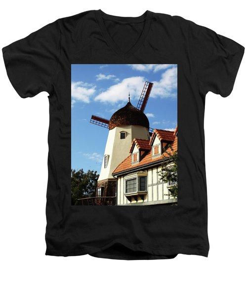 Windmill At Solvang, California Men's V-Neck T-Shirt