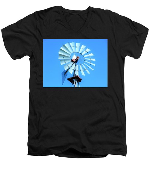 Men's V-Neck T-Shirt featuring the photograph Windmill - Bright Sunny Day by Ray Shrewsberry