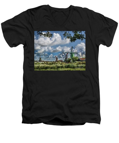Windmills Of Holland Men's V-Neck T-Shirt by Shirley Mangini