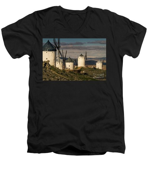 Men's V-Neck T-Shirt featuring the photograph Windmills Of La Mancha by Heiko Koehrer-Wagner
