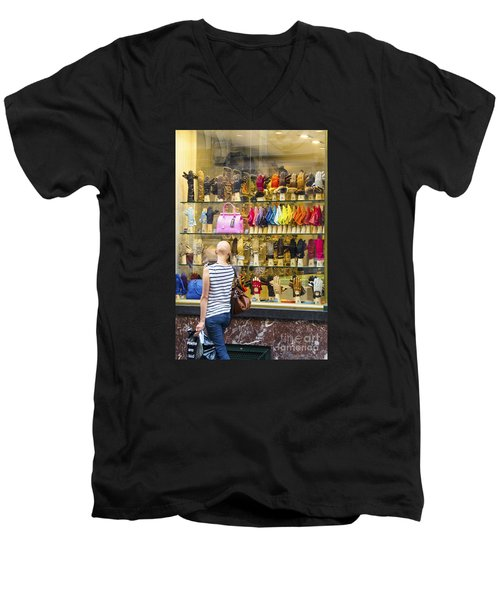 Men's V-Neck T-Shirt featuring the photograph Window Shopper by Pravine Chester