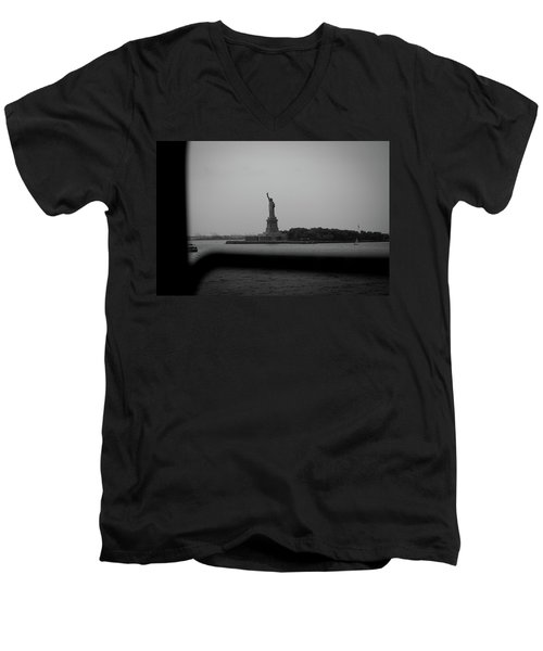 Men's V-Neck T-Shirt featuring the photograph Window To Liberty by David Sutton