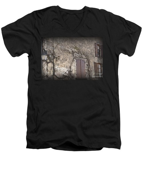 Men's V-Neck T-Shirt featuring the photograph Windows Among The Vines by Victoria Harrington