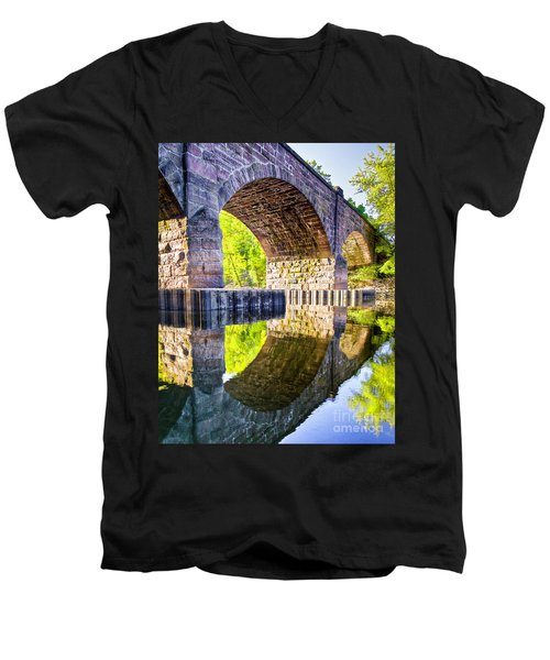 Windsor Rail Bridge Men's V-Neck T-Shirt by Tom Cameron