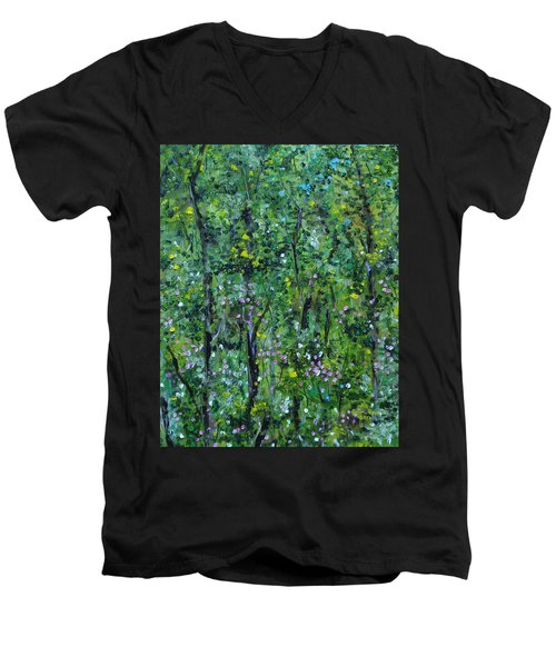 Men's V-Neck T-Shirt featuring the painting Windsor Way Woods by Judith Rhue