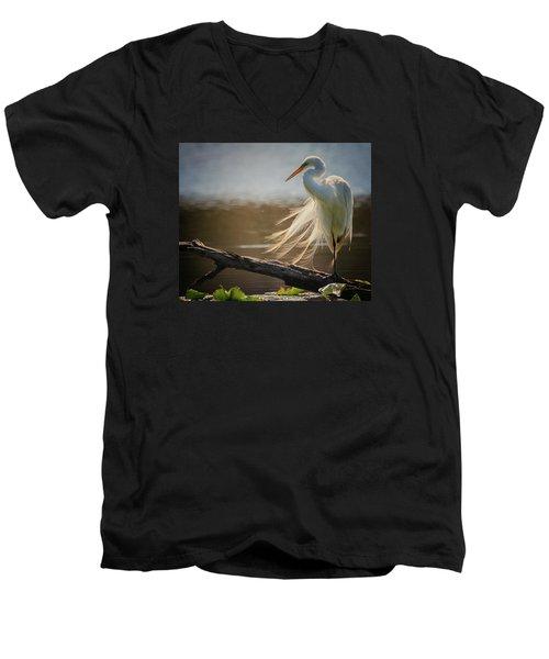 Windy Egret  Men's V-Neck T-Shirt