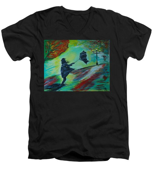 Men's V-Neck T-Shirt featuring the painting Windy Escapade by Leslie Allen