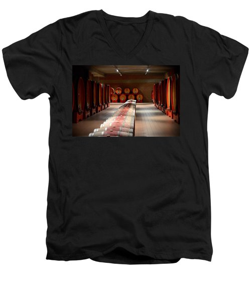 Wine Cellar In Montalcino Men's V-Neck T-Shirt
