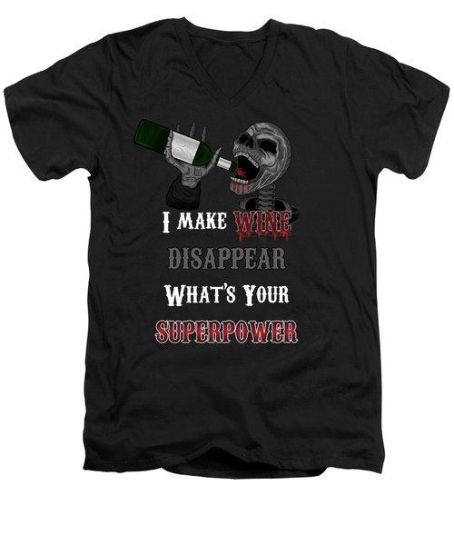 Wine Superpower Skeleton Fantasy Art Men's V-Neck T-Shirt