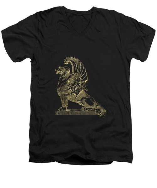Men's V-Neck T-Shirt featuring the digital art Winged Chimera From Theater De Bellecour, Lyon, France, In Gold On Black by Serge Averbukh