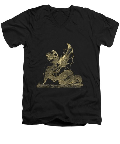 Winged Dragon Chimera From Fontaine Saint-michel, Paris In Gold On Black Men's V-Neck T-Shirt by Serge Averbukh