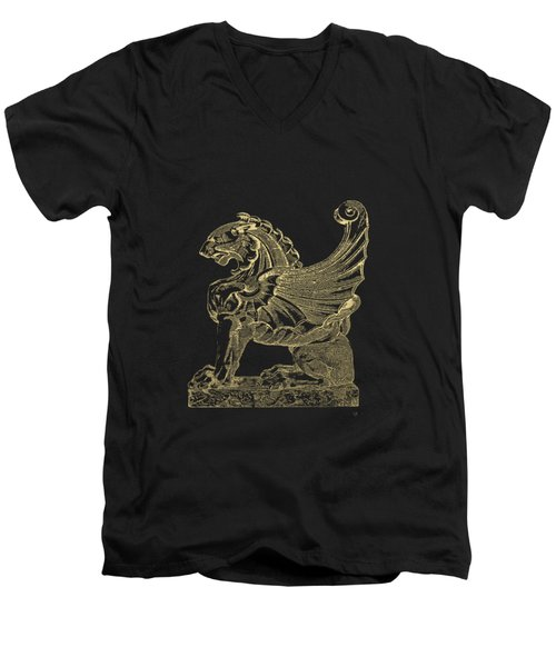 Winged Lion Chimera From Casa San Isidora, Santiago, Chile, In Gold On Black Men's V-Neck T-Shirt by Serge Averbukh