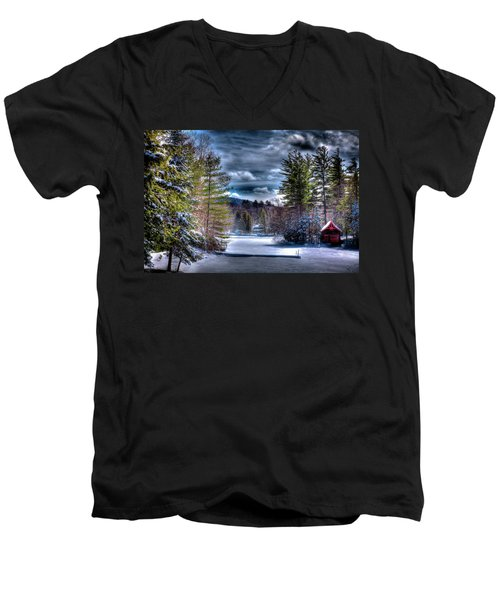Men's V-Neck T-Shirt featuring the photograph Winter At The Boathouse by David Patterson