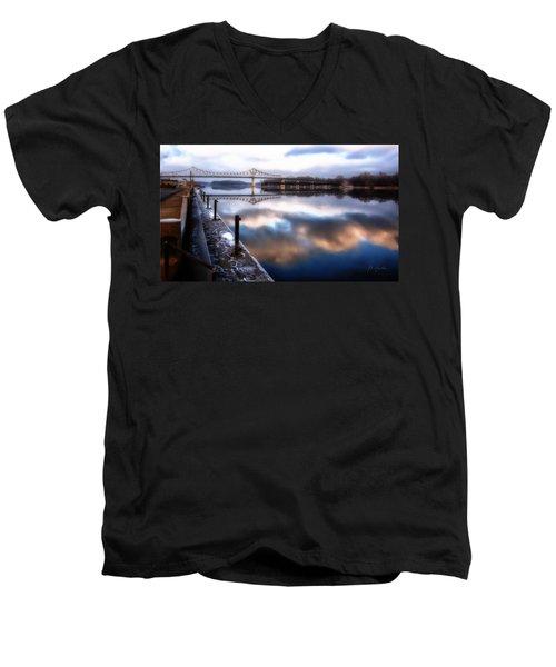 Winter At The Levee Men's V-Neck T-Shirt