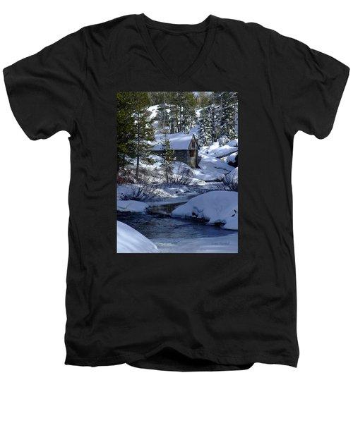 Winter Cottage Men's V-Neck T-Shirt by Donna Blackhall