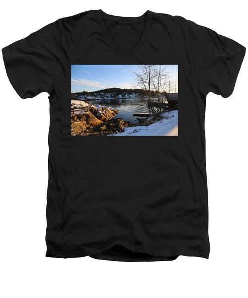 Winter Day By The Oslo Fjords, Norway.  Men's V-Neck T-Shirt
