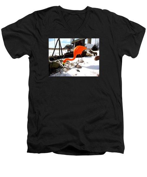 Winter Flamingo Men's V-Neck T-Shirt