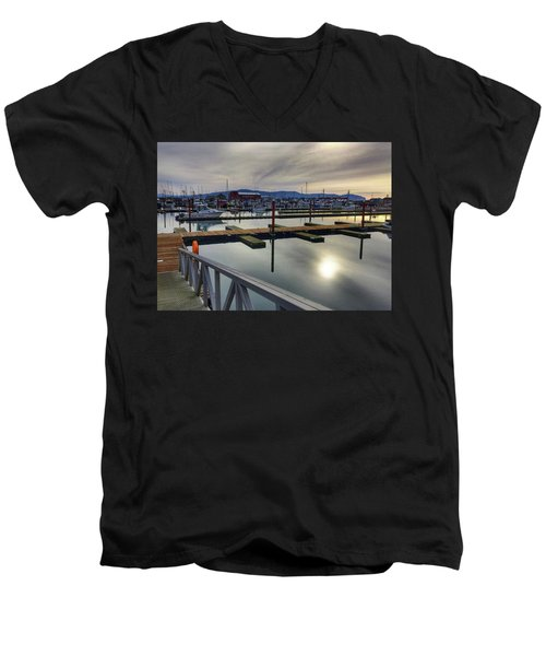 Men's V-Neck T-Shirt featuring the photograph Winter Harbor by Chriss Pagani