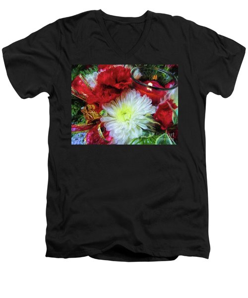 Men's V-Neck T-Shirt featuring the photograph Winter Holiday  by Peggy Hughes