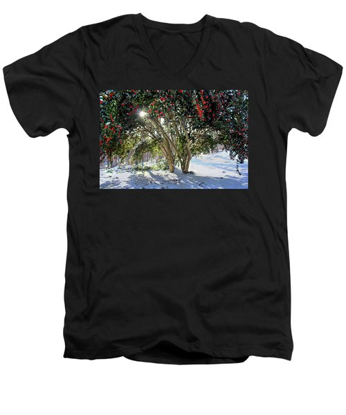 Men's V-Neck T-Shirt featuring the photograph Winter Holly by Jessica Brawley