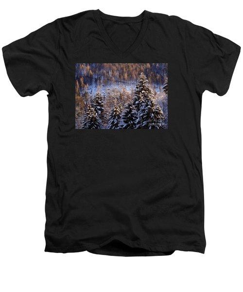winter in Bavaria 8 Men's V-Neck T-Shirt by Rudi Prott