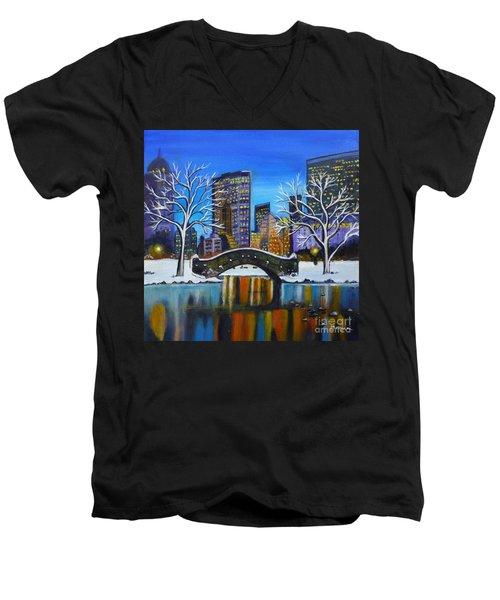 Winter In New York- Night Landscape Men's V-Neck T-Shirt