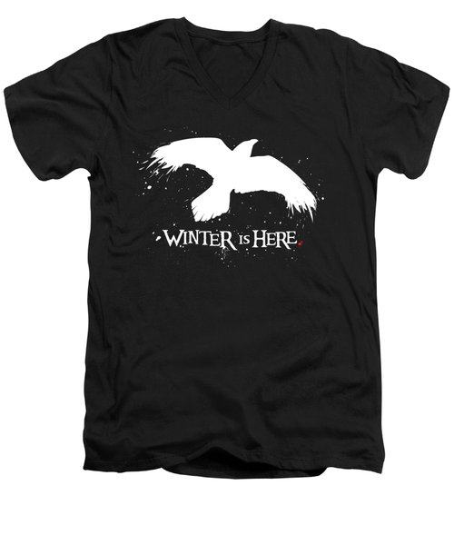 Winter Is Here - Large Raven Men's V-Neck T-Shirt