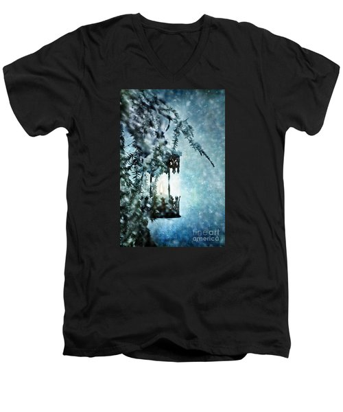 Winter Lantern Men's V-Neck T-Shirt by Stephanie Frey