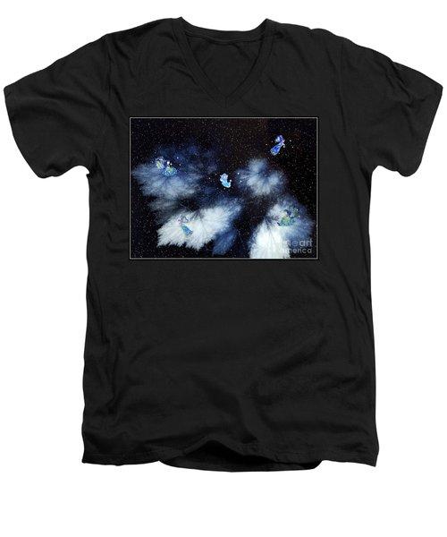 Winter Leaves And Fairies Men's V-Neck T-Shirt