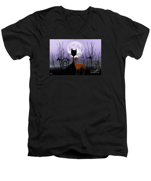 Men's V-Neck T-Shirt featuring the digital art Winter Moon Cats In Love by Rosa Cobos