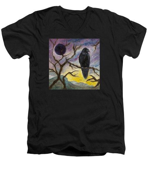 Winter Moon Raven Men's V-Neck T-Shirt