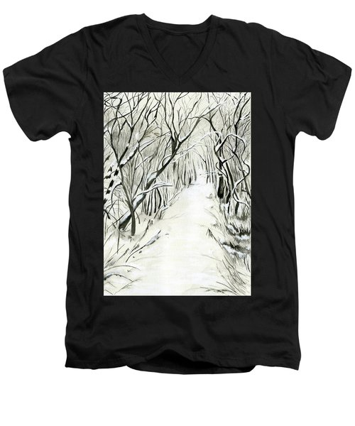 Winter Scene Men's V-Neck T-Shirt by Nadine Dennis
