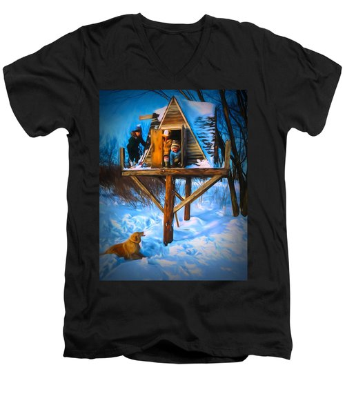 Winter Scene Three Kids And Dog Playing In A Treehouse Men's V-Neck T-Shirt