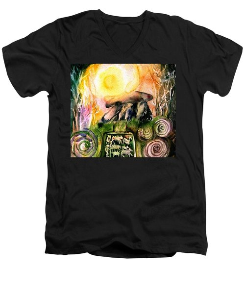 Winter Solstice , Ancient Stones Of Ireland   Men's V-Neck T-Shirt by Trudi Doyle