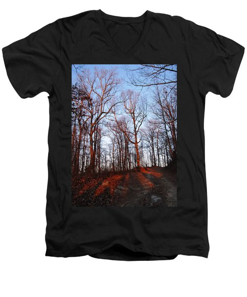 Winter Sunset In Georgia Mountains Men's V-Neck T-Shirt by Angela Murray