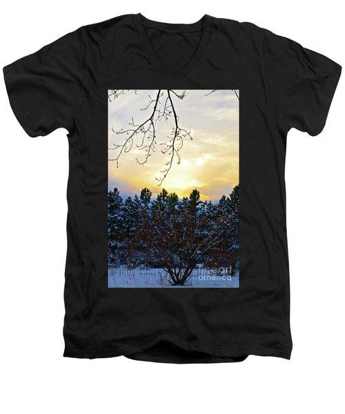 Winter Sunset On The Tree Farm #2 Men's V-Neck T-Shirt