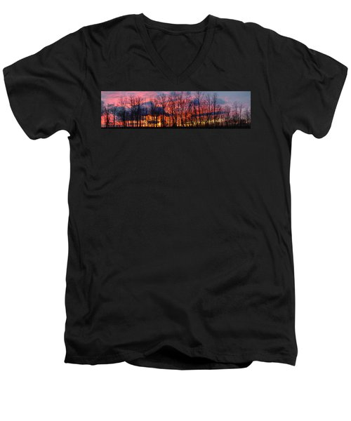 Men's V-Neck T-Shirt featuring the photograph Winter Sunset Panorama by Francesa Miller