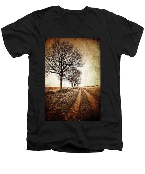 Winter Track With Trees Men's V-Neck T-Shirt