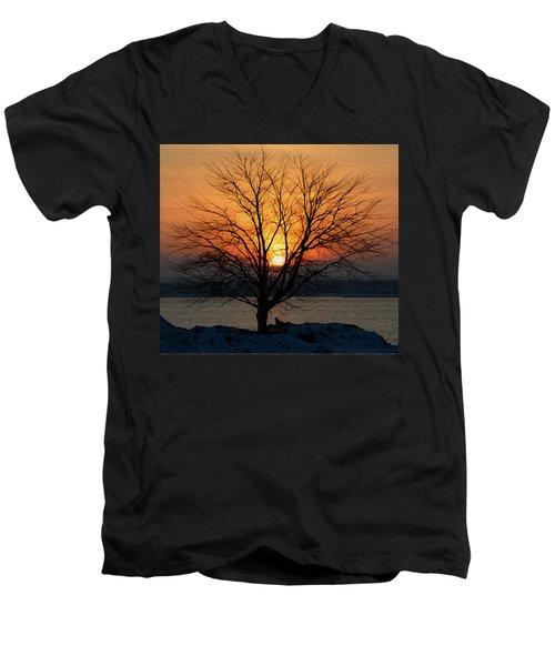 Winter Tree Sunrise Men's V-Neck T-Shirt