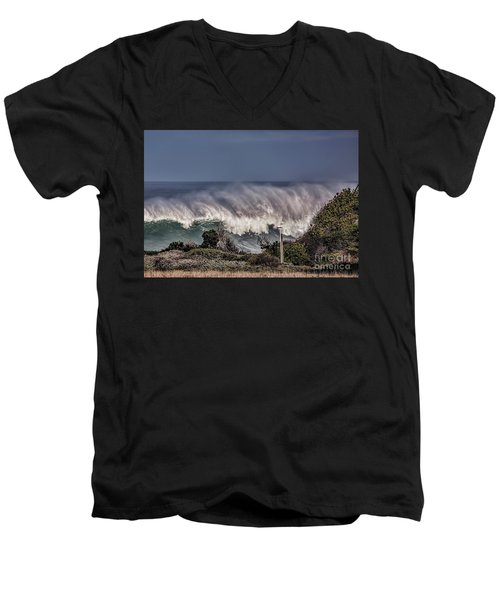Winter Waves Men's V-Neck T-Shirt by Shirley Mangini