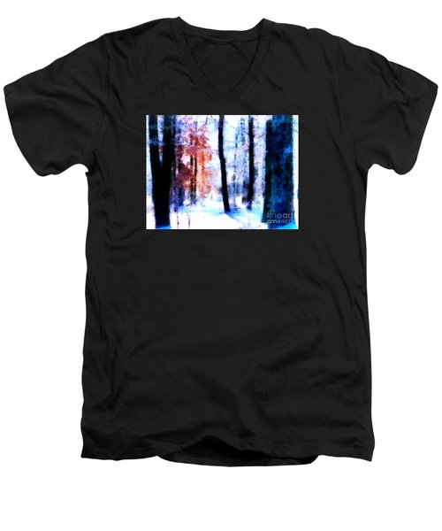 Winter Woods Men's V-Neck T-Shirt by Craig Walters