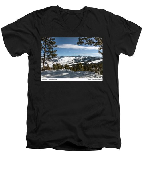 Men's V-Neck T-Shirt featuring the photograph Wintertime View From Hellroaring Overlook In Yellowstone National Park by Carol M Highsmith