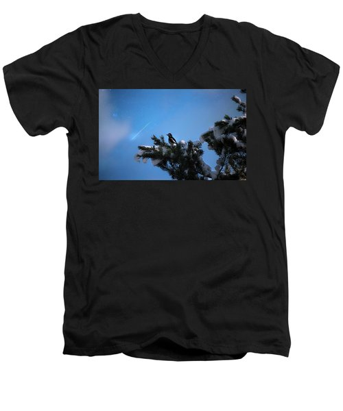 Wish Upon A Shooting Star Men's V-Neck T-Shirt by Rose-Marie Karlsen