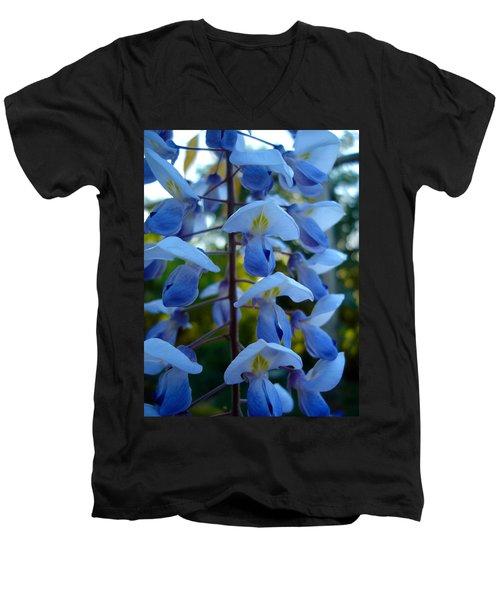 Wisteria - Blue Hooded Ladies Men's V-Neck T-Shirt