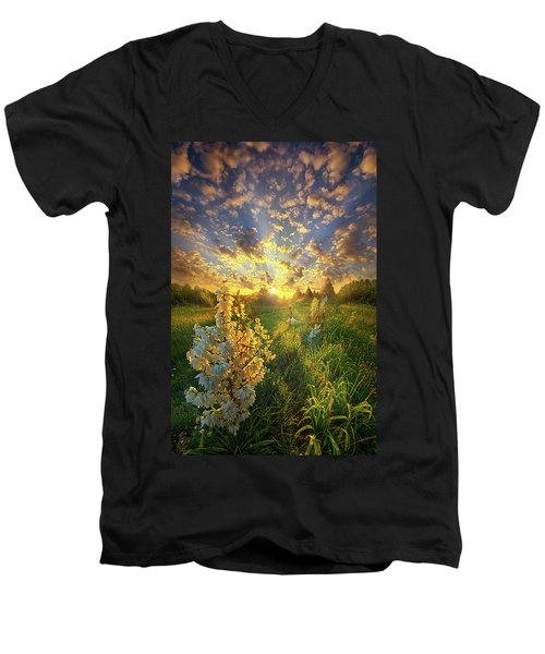 Men's V-Neck T-Shirt featuring the photograph With An Angel By My Side by Phil Koch
